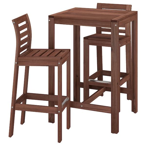 ÄPPLARÖ Bar table and 2 bar stools, brown stained
