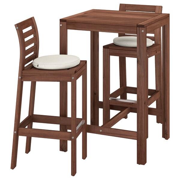 ÄPPLARÖ Bar table and 2 bar stools, outdoor, brown stained/Frösön/Duvholmen beige