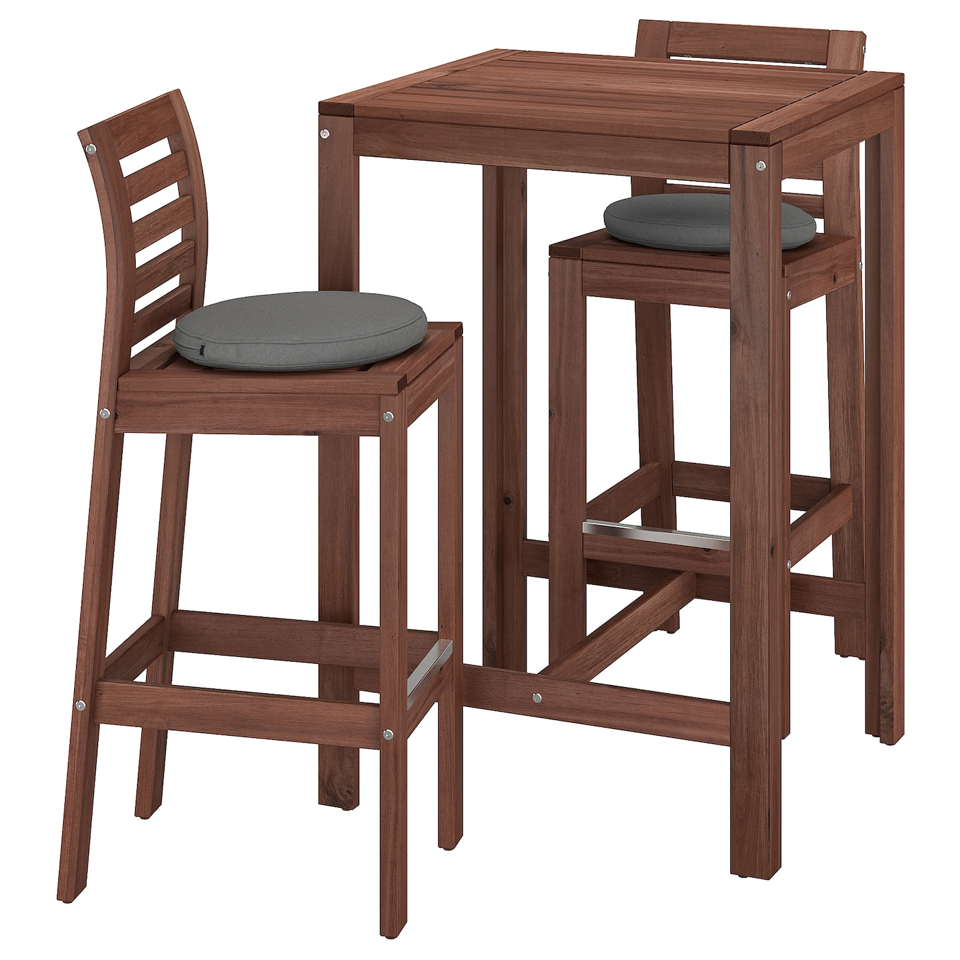 Image of: Applaro Bar Table And 2 Bar Stools Outdoor Brown Stained Froson Duvholmen Dark Gray Ikea