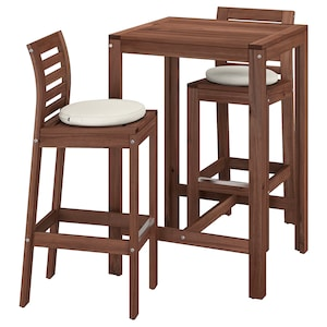 ÄPPLARÖ Bar table and 2 bar stools, outdoor - brown stained ...