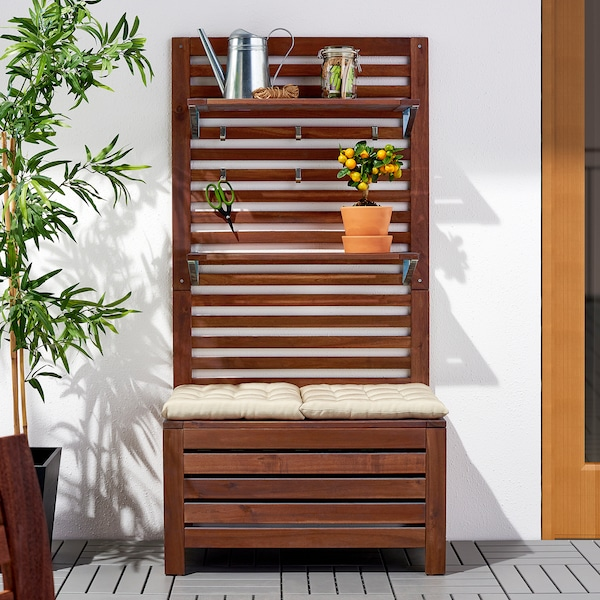 """ÄPPLARÖ Bench w/panel and shelves, outdoor, brown stained, 31 1/2x17 3/8x62 1/4 """""""