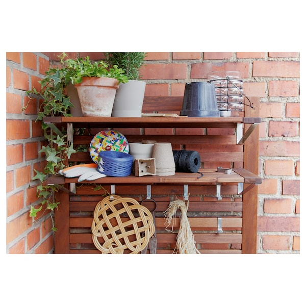 """ÄPPLARÖ bench w/panel and shelves, outdoor brown stained 31 1/2 """" 17 3/8 """" 62 1/4 """""""