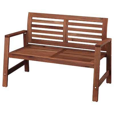 """ÄPPLARÖ bench with backrest, outdoor brown stained 46 1/8 """" 25 5/8 """" 31 1/2 """" 45 1/4 """" 20 1/2 """" 16 1/8 """""""
