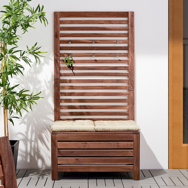 ÄPPLARÖ Bench with wall panel, outdoor, brown stained, 31 1/2x17 3/8x62 1/4 ""