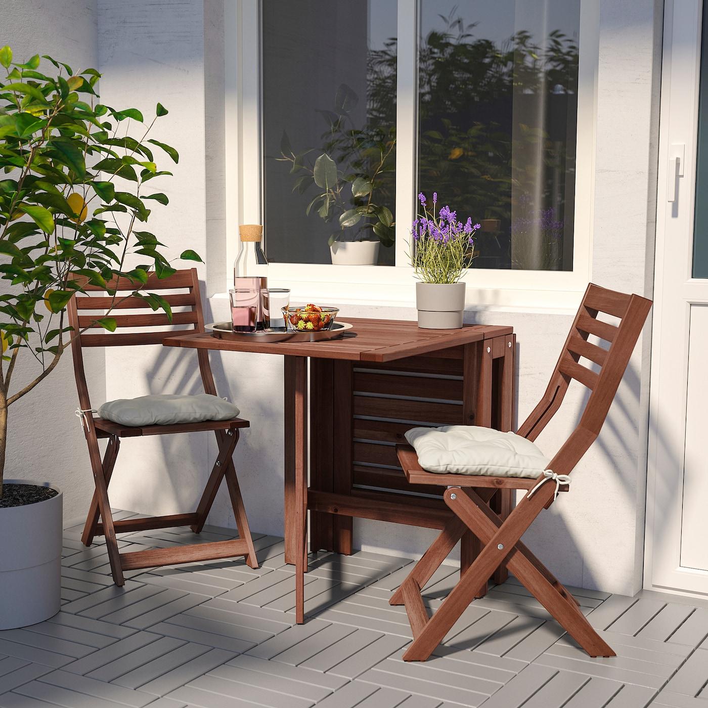 """ÄPPLARÖ Gateleg table, outdoor, brown stained, 7 7/8/30 3/8/52 3/8x24 3/8 """""""