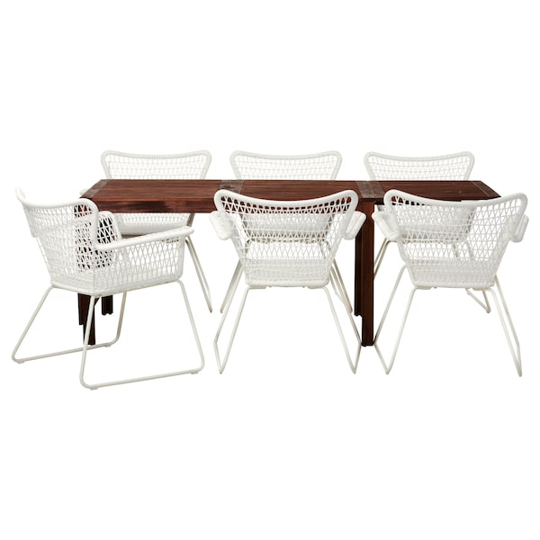 ÄPPLARÖ / HÖGSTEN Table+6 armchairs, outdoor, brown stained/white