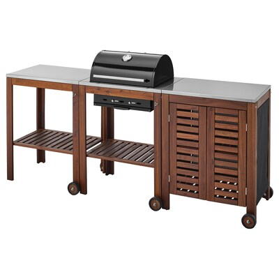 "ÄPPLARÖ / KLASEN charcoal grill with cart & cabinet brown stained/stainless steel color 85 3/8 "" 22 7/8 "" 42 7/8 """