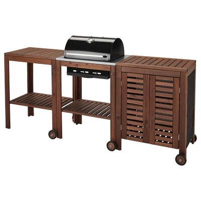 "ÄPPLARÖ / KLASEN charcoal grill with cart & cabinet brown stained 85 3/8 "" 22 7/8 "" 42 7/8 """