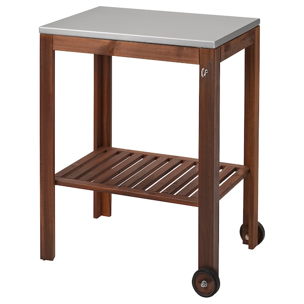 ÄPPLARÖ / KLASEN Serving cart, outdoor, brown stained/stainless steel, 30 3/8x22 7/8 ""