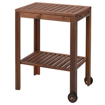 """ÄPPLARÖ / KLASEN Serving cart, outdoor, brown stained, 30 3/8x22 7/8 """""""