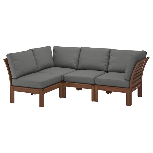 "ÄPPLARÖ Modular corner sofa 3-seat, outdoor, brown stained/Frösön/Duvholmen dark gray, 56 1/4/87 3/4x31 1/2x33 1/8 """