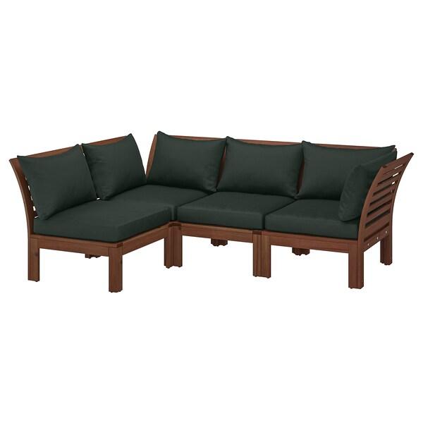 "ÄPPLARÖ Modular corner sofa 3-seat, outdoor, brown stained/Hållö black, 56 1/4/87 3/4x31 1/2x30 3/4 """