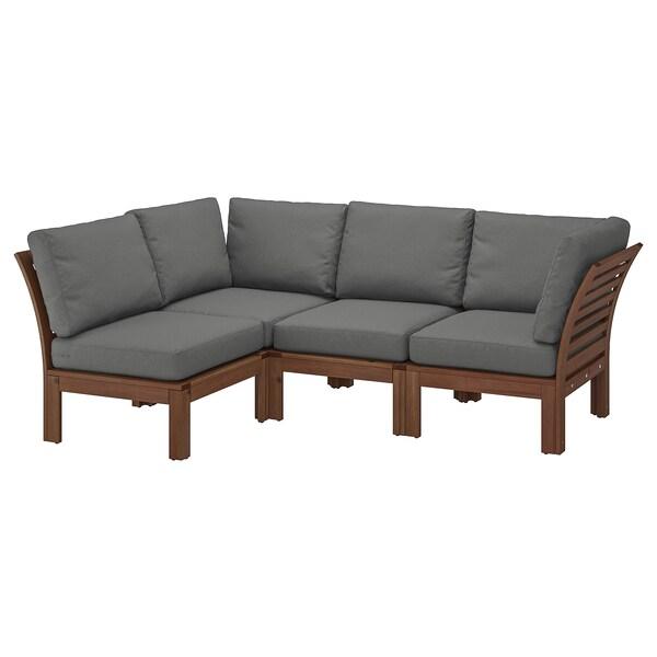 Modular corner sofa 3-seat, outdoor ÄPPLARÖ brown stained, Frösön/Duvholmen  dark gray