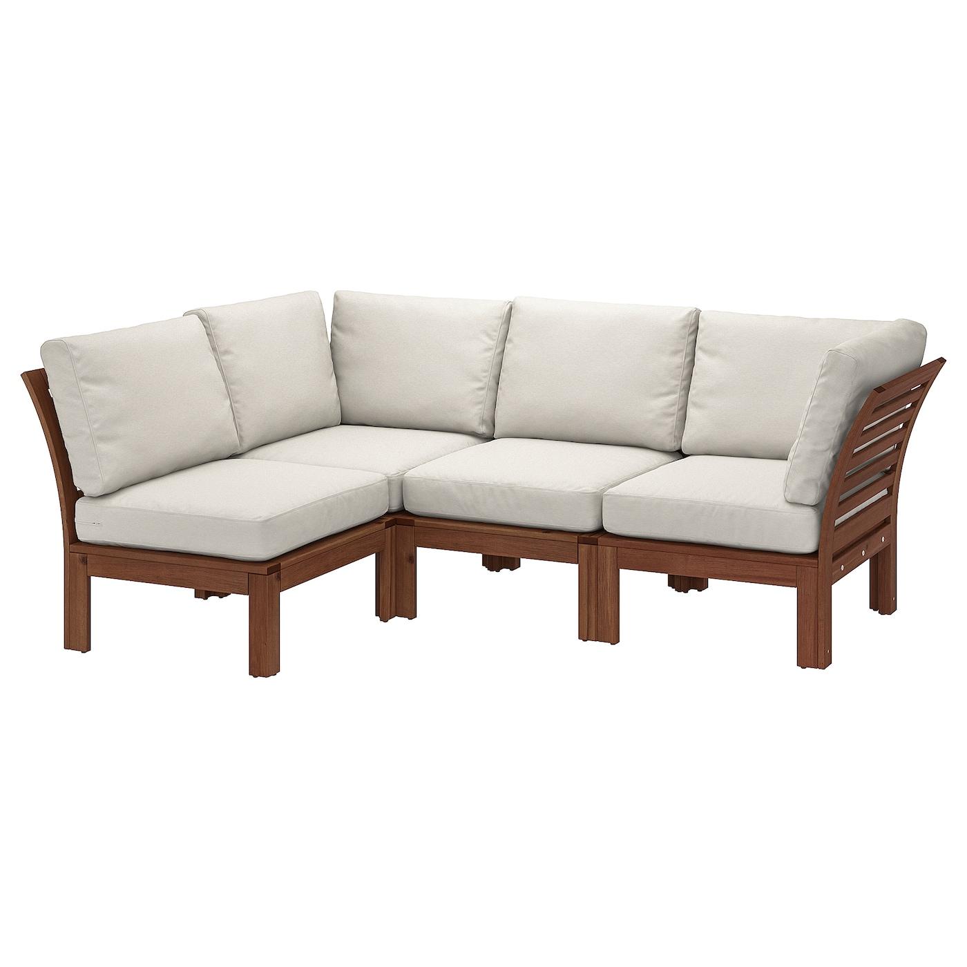 Modular corner sofa 3-seat, outdoor ÄPPLARÖ brown stained, Frösön/Duvholmen  beige