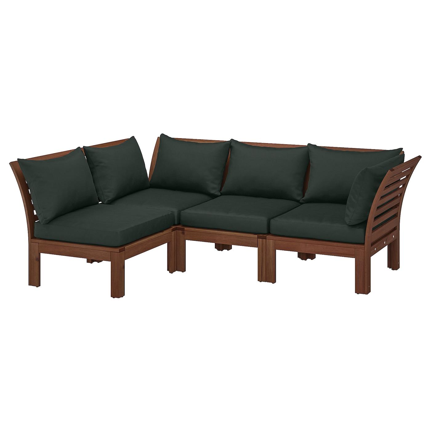 Modular corner sofa 3-seat, outdoor ÄPPLARÖ brown stained, Hållö black black