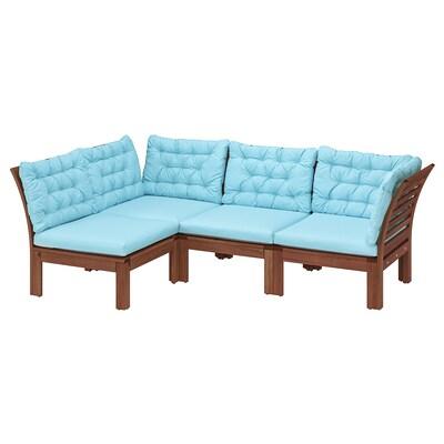 "ÄPPLARÖ modular corner sofa 3-seat, outdoor brown stained/Kuddarna light blue 31 1/2 "" 31 1/2 "" 87 3/4 "" 56 1/4 "" 22 1/2 "" 14 1/8 """