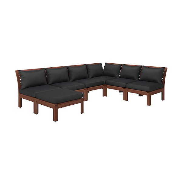 Prime Modular Corner Sofa 5 Seat Outdoor Applaro Brown Stained With Footstool Brown Stained Hallo Black Dailytribune Chair Design For Home Dailytribuneorg