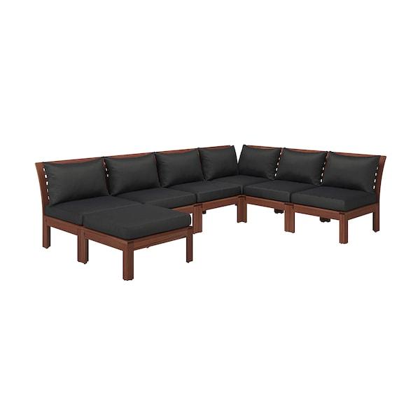Modular corner sofa 5-seat, outdoor ÄPPLARÖ with footstool brown stained  brown stained, Hållö black