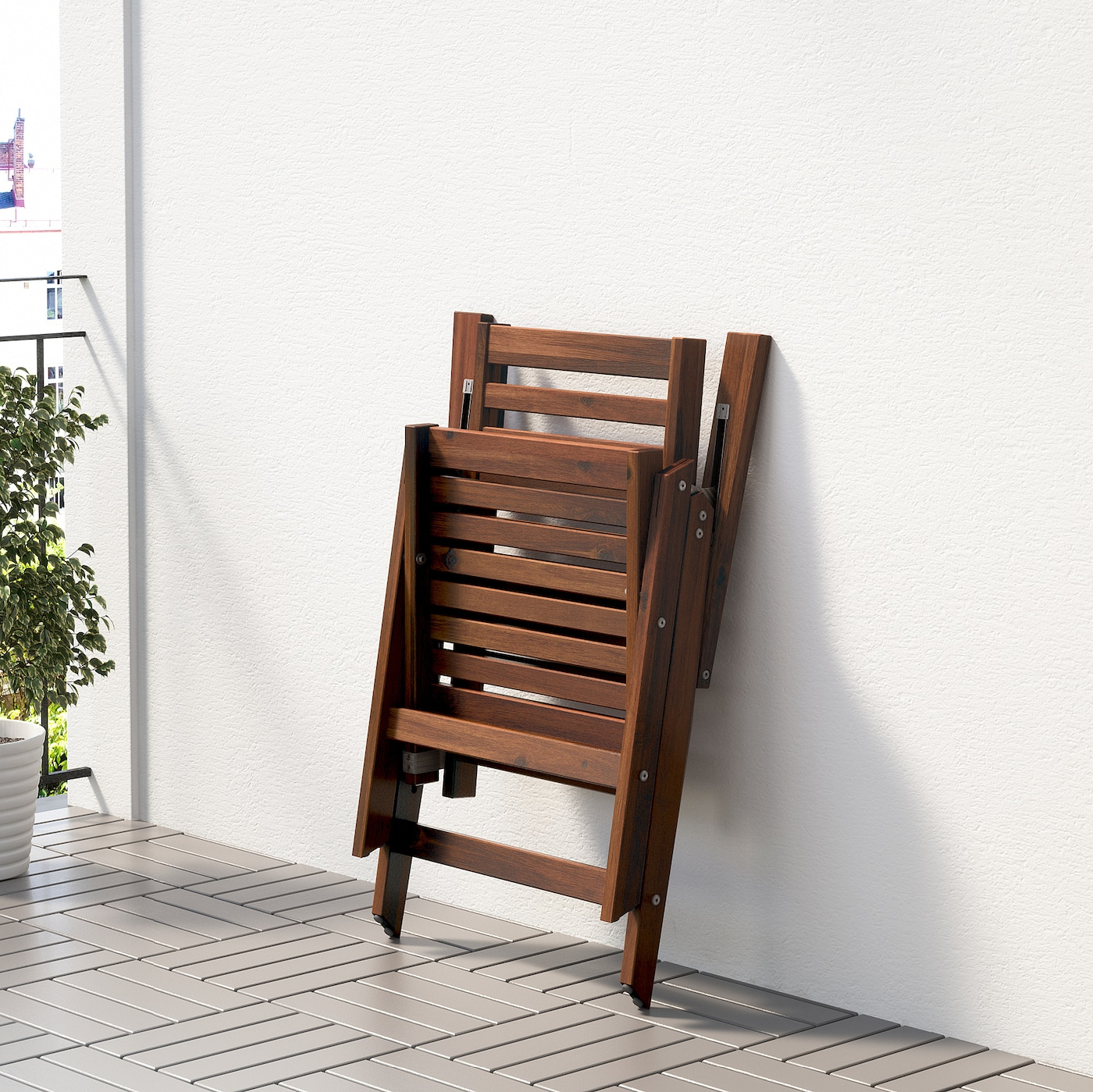 ÄPPLARÖ Reclining chair, outdoor brown foldable brown stained brown