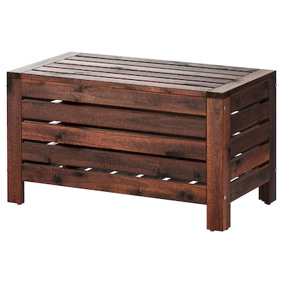 ÄPPLARÖ Storage bench, outdoor, brown stained, 31 1/2x16 1/8 ""