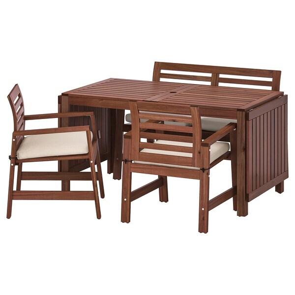 ÄPPLARÖ Table, 2 armchairs + bench, outdoor, brown stained/Frösön/Duvholmen beige