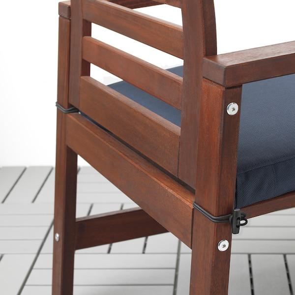 ÄPPLARÖ Table, 2 armchairs + bench, outdoor, brown stained/Frösön/Duvholmen blue