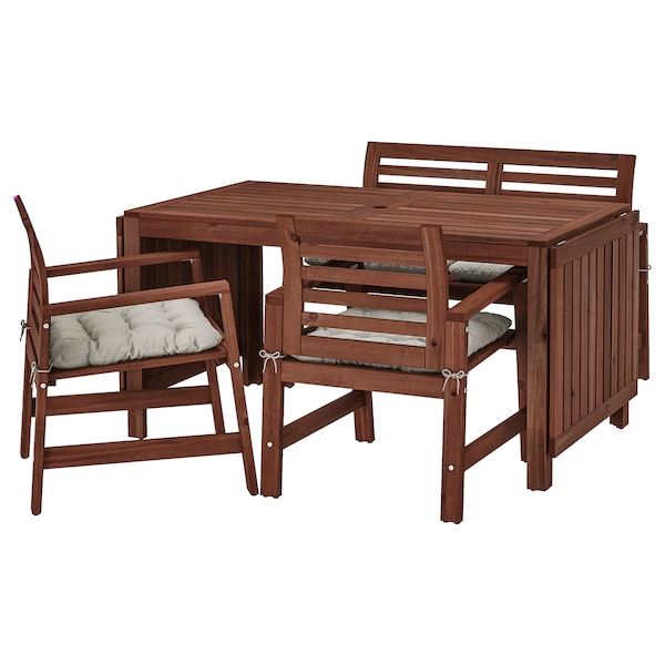 ÄPPLARÖ Table, 2 armchairs + bench, outdoor, brown stained/Kuddarna gray