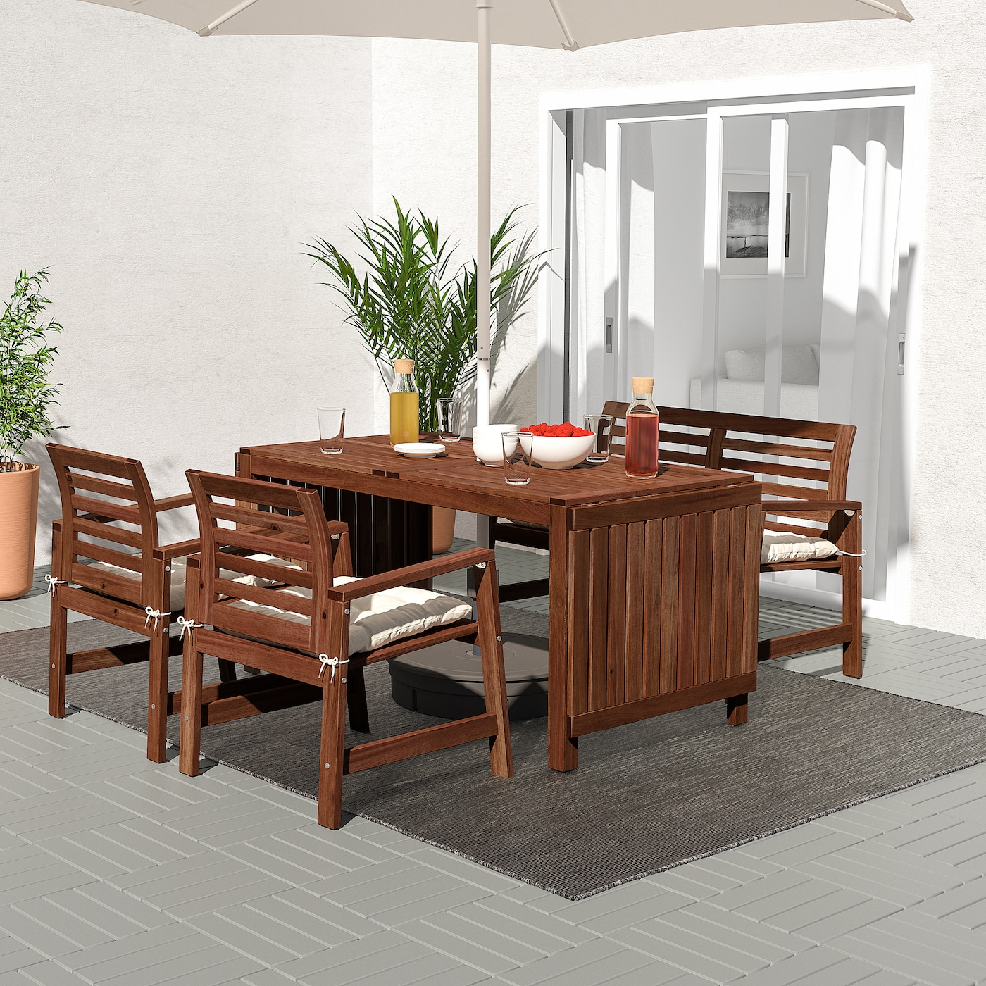 ÄPPLARÖ Table, 2 armchairs + bench, outdoor, brown stained