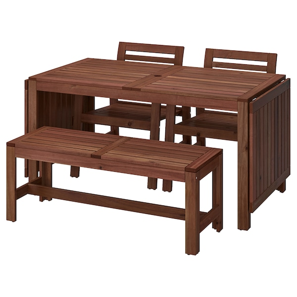 ÄPPLARÖ table, 2 armchairs and bench outdoor brown stained