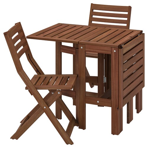 ÄPPLARÖ table and 2 folding chairs, outdoor brown stained