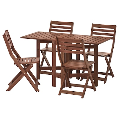 ÄPPLARÖ table and 4 folding chairs, outdoor brown stained