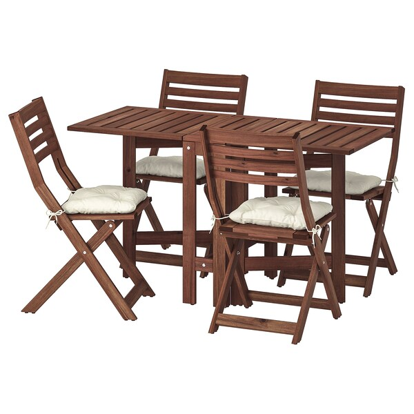 ÄPPLARÖ table and 4 folding chairs, outdoor brown stained/Kuddarna beige