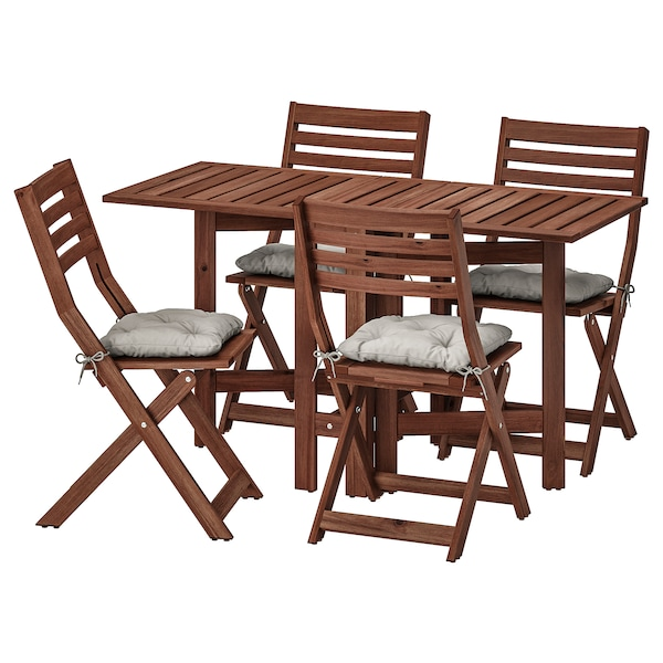 ÄPPLARÖ table and 4 folding chairs, outdoor brown stained/Kuddarna gray