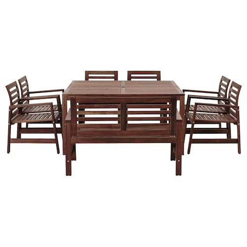 ÄPPLARÖ table,6 armchairs+bench, outdoor brown stained