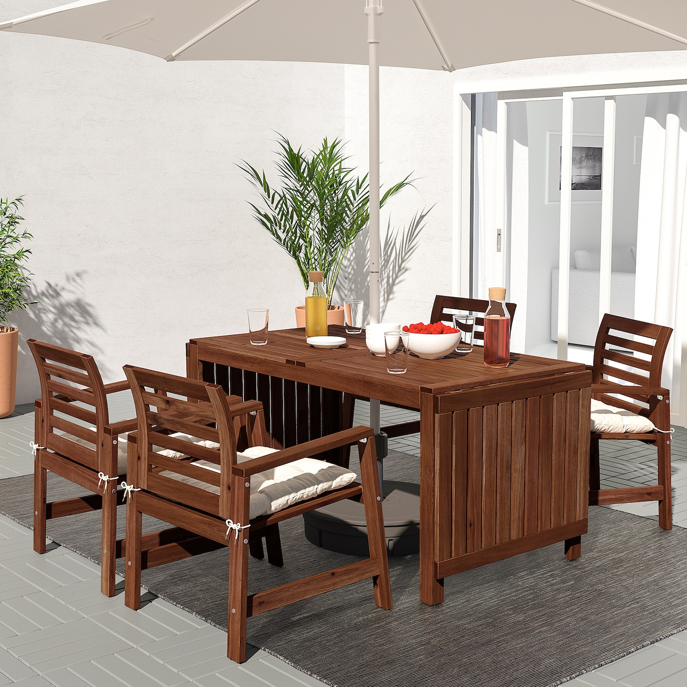 ÄPPLARÖ Table and 10 armchairs, outdoor - brown stained