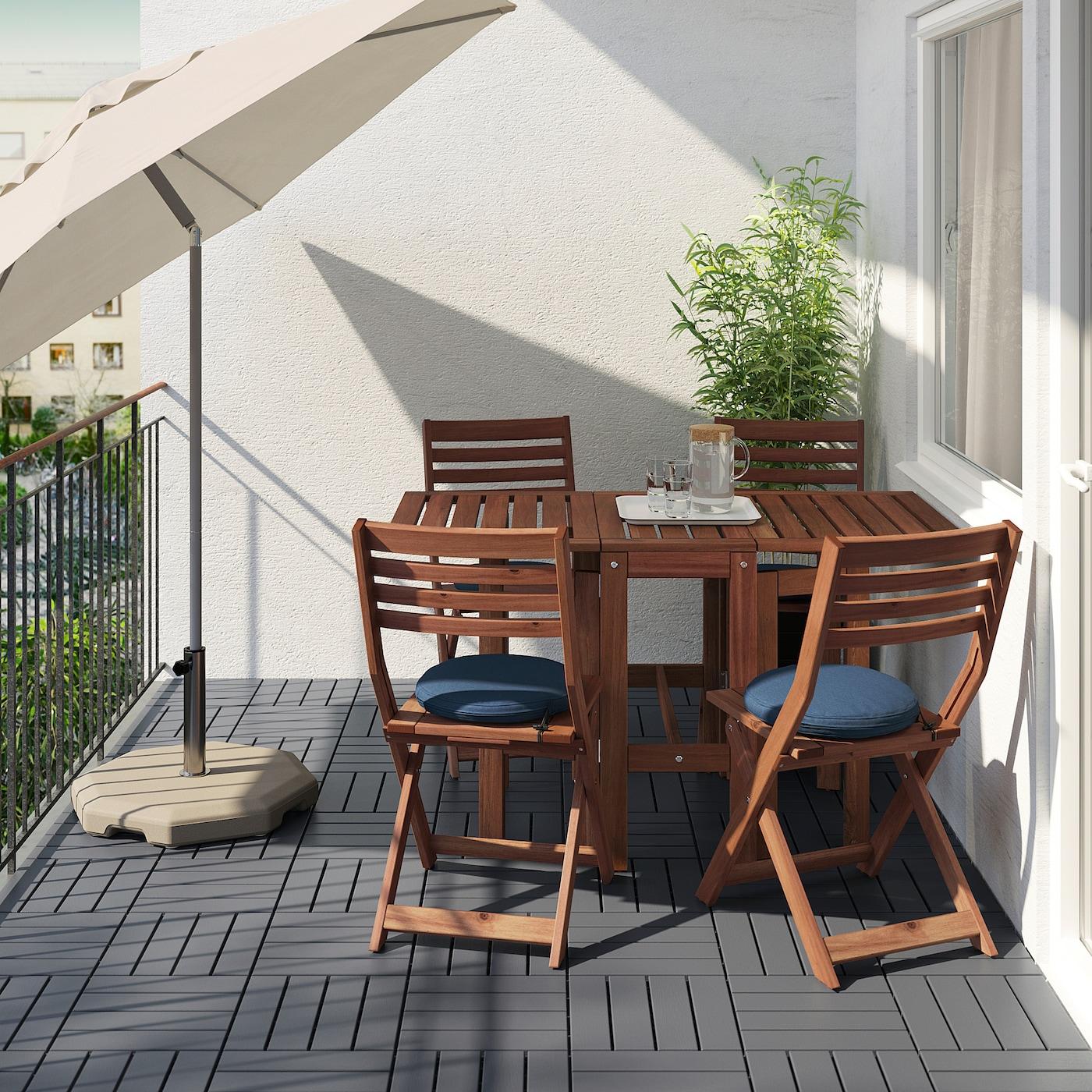 ÄPPLARÖ Table and 4 folding chairs, outdoor, brown stained/Frösön/Duvholmen blue