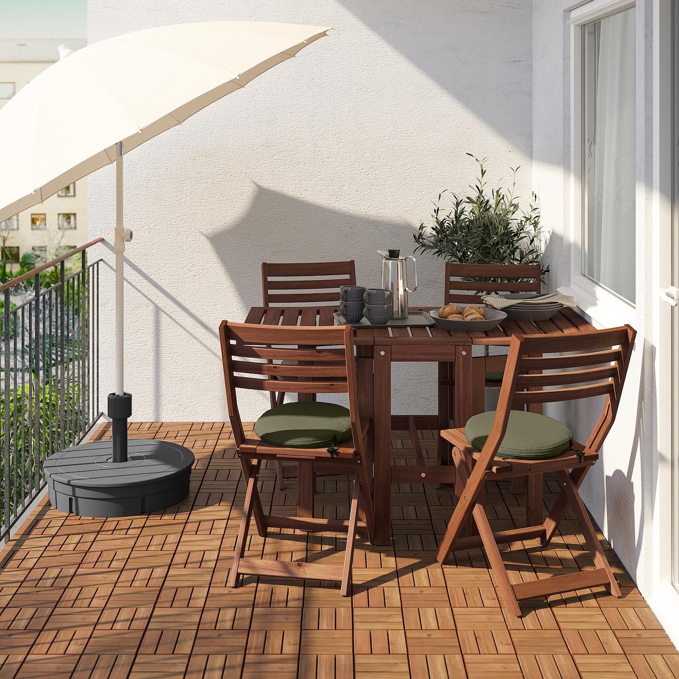 ÄPPLARÖ Table and 4 folding chairs, outdoor, brown stained/Frösön/Duvholmen dark beige-green