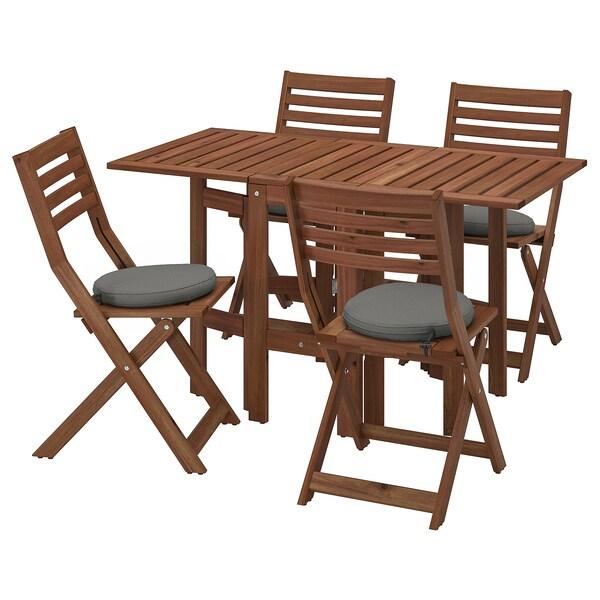 ÄPPLARÖ Table and 4 folding chairs, outdoor, brown stained/Frösön/Duvholmen dark gray