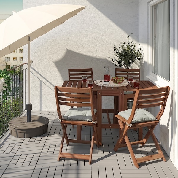 ÄPPLARÖ Table and 4 folding chairs, outdoor, brown stained/Kuddarna gray