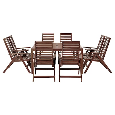 ÄPPLARÖ Table+ and 8 reclining chairs, outdoor brown stained