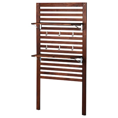 """ÄPPLARÖ Wall panel+2 shelves, outdoor, brown stained, 31 1/2x11 3/4x62 1/4 """""""