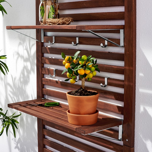ÄPPLARÖ Wall panel+2 shelves, outdoor, brown stained, 31 1/2x11 3/4x62 1/4 ""