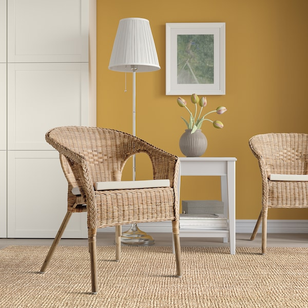 AGEN Chair with cushion, rattan/Norna natural