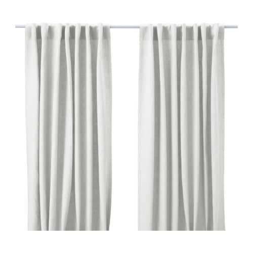 """AINA Pair of curtains bleached Length: 98 """" Width: 57 """" Weight: 3 lb 8 oz  Length: 250 cm Width: 145 cm Weight: 1.60 kg"""
