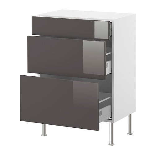 AKURUM Base cabinet with 3 drawers IKEA Drawers with integrated damper that catches the running drawers so that they close slowly, silently and softly.