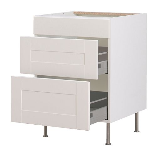 AKURUM Base cabinet with 3 drawers IKEA Built-in dampers make the doors close slowly, quietly and softly.