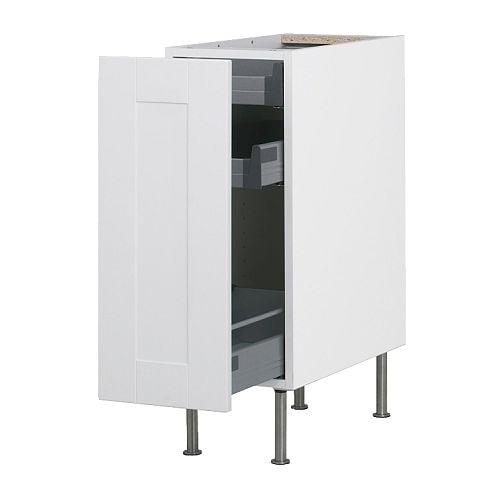 AKURUM Base cabinet with pull-out storage IKEA Built-in dampers make the doors close slowly, quietly and softly.