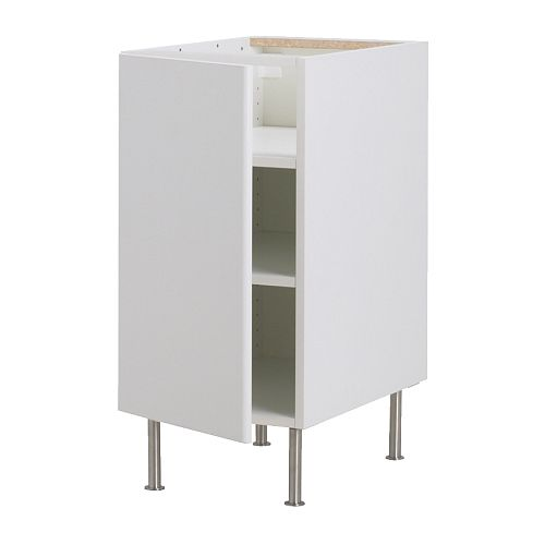 "AKURUM Base cabinet with shelves IKEA You can customize spacing as needed, because the shelf is adjustable.  Sturdy construction at 3/4"" thick."