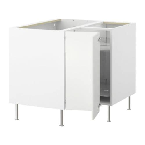 AKURUM Corner base cabinet with carousel - white, Härlig white - IKEA