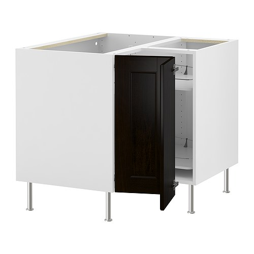 AKURUM Corner base cabinet with carousel IKEA 2 swivel shelves; maximize the use of the corner space and make the contents easy to view and reach.